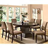 A Line Furnituure Terra Contemporary Architectural Inspired Espresso Dining  Set With Naihead Trim 8 Piece