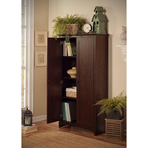 (Bush Furniture Buena Vista Tall Storage Cabinet with Doors in Madison Cherry)