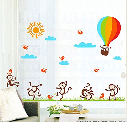 BIBITIME Monkey Playing on Grassland Decals Travel Hot Air Balloon Wall Stickers Sun Sky Blue Clouds Falying Birds Vinyl Quotes Nursey Kids Room Decor by BIBITIME