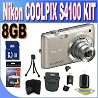 COOLPIX S4100 14 MP Digital Camera with 5x NIKKOR Wide-Angle Optical Zoom Lens and 3-Inch Touch-Panel LCD (Silver) + 8GB SDHC Memory + USB Card Reader + Memory Card Wallet + Shock Proof Deluxe Case + Accessory Saver Bundle! Advantages Review Image