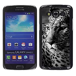 TopCaseStore / la caja del caucho duro de la cubierta de protección de la piel - Leopard Spots Animal Fur White Black - Samsung Galaxy Grand 2 SM-G7102 SM-G7105
