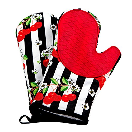 Silicone Oven Mitts Heat Resistant with Cotton Lining - Ideal for Cooking and Baking - Set of 2 (Large, Black Red)