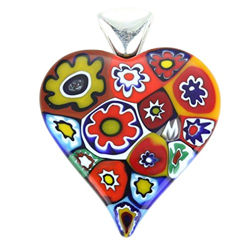 GlassOfVenice Murano Glass Color Splash Millefiori Heart Pendant