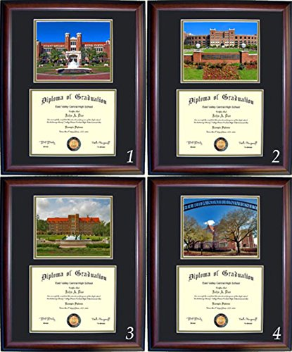 Florida State Diploma Frame - Photo Option #1 - Cherry Frame