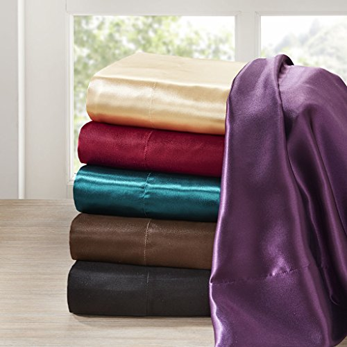 Madison Flat Sheet (Madison Park Essentials - Satin 6 Piece Sheet Set - Black - Queen - Extra Soft - Easy Fit - Includes  1 Fitted Sheet ,1 Flat Sheet, 4 Pillowcases)
