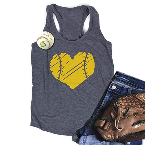 WARMHOL Baseball Racerback Tank Top Mom Sport Heart Print Graphic Casual Vest Blouse Tees Gray L