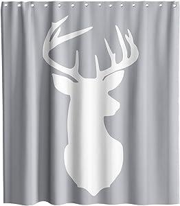 Deer Antlers Shower Curtain Animal Elk Head Image Theme Fabric Bathroom Decor Sets with Hooks Waterproof Washable (70W×70L)