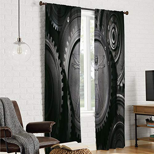 Polyester Microfiber Doorway Curtain Industrial,Wheels of System with Medieval Old Human Body Animation Device Gears of Whole Theme,Grey W108 x L96 Inch ()
