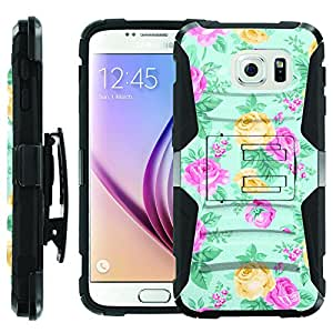 [ManiaGear] Heavy Duty Combat Armor Dual Layer Design Image Case With Kickstand Belt Holster Case (Rose Vangtage) for [Samsung Galaxy S6]