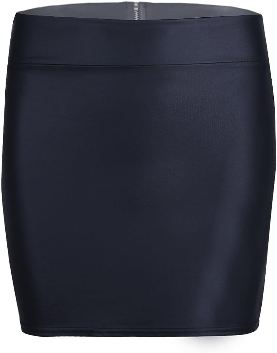 TiaoBug Mujer Falda Básica Recta de Tiro Alto Mini Falda de ...
