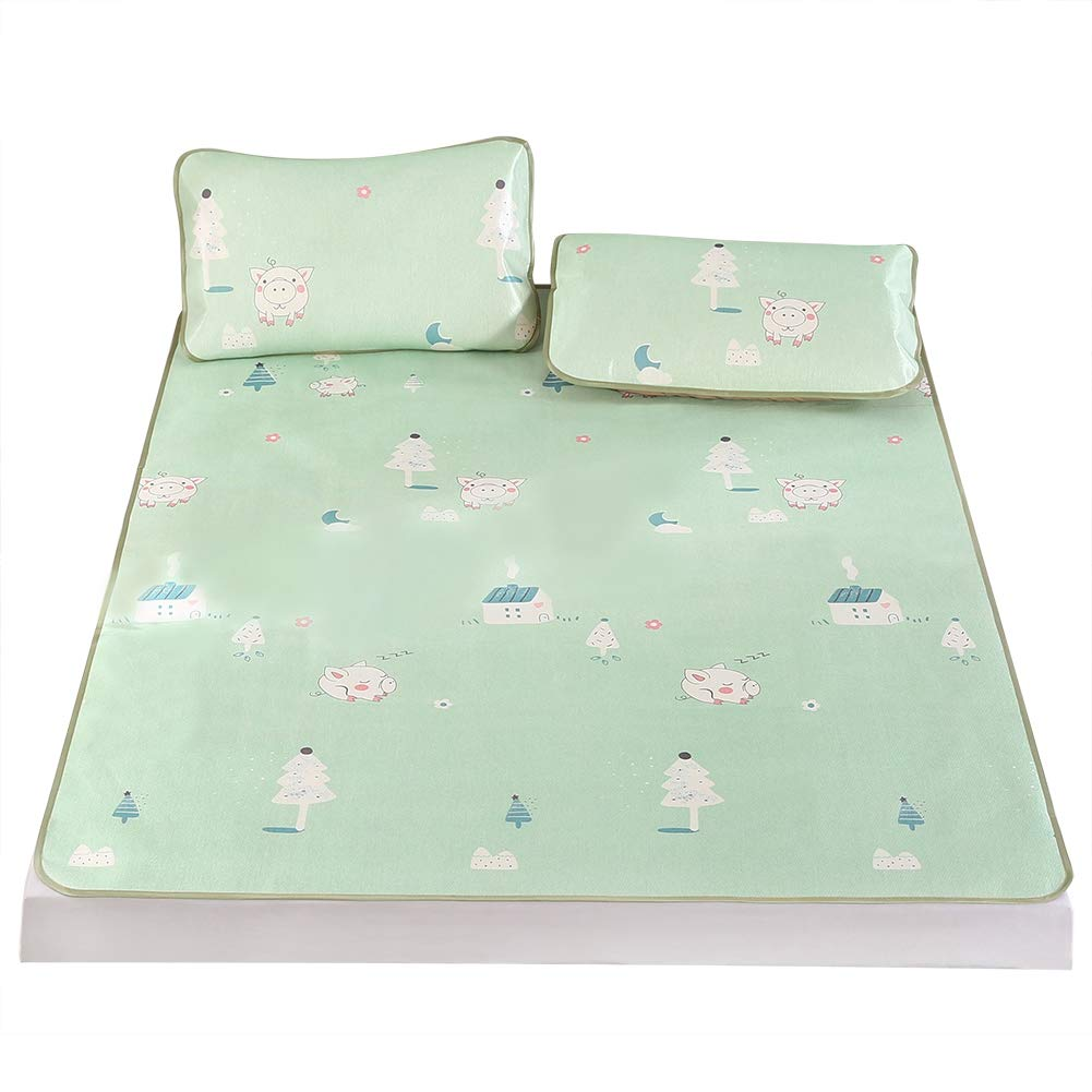 King Cooling Mattresses 3D Printing Foldable Cooling Summer Sleeping Mat Ice Silk Cover with Pillow Shams Set