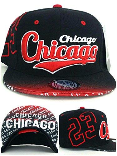 Chicago New Top Pro Jordan 23 City Flash Bulls Colors Black Red Era Snapback Hat (Red Bull New Era)