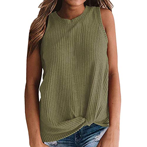 Sunhusing Women's Summer Casual Solid Tank Tops Cute Waffle Knit Sleeveless Twist Knotted Blouse T-Shirt Army ()