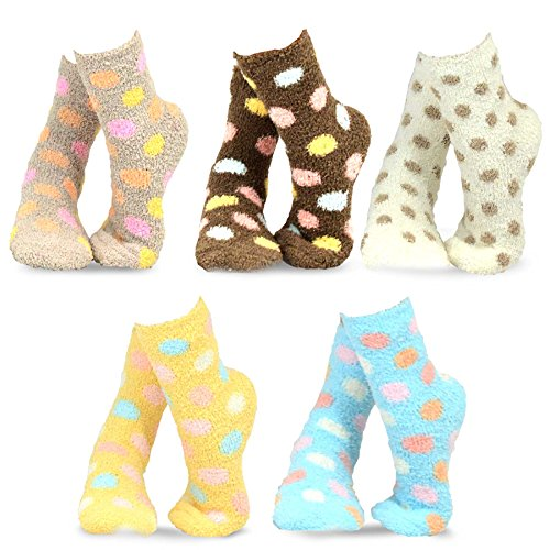 Dot Fuzzy Socks (TeeHee Fashionable Cozy Fuzzy Slipper Crew Socks for Women 5-Pack (Polka Dots))