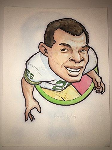 Green Bay Packers Original Art (Green Bay Packers Herb Adderley #26 Original Art Illustration Rare HERO Deck Drawing! (Parody Productions LOA))