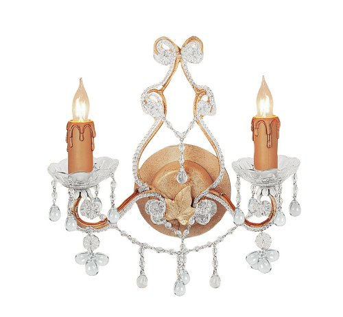 Crystorama 4522-CM, Paris Flea Market Crystal Wall Sconce Lighting, 2 Light, 120 Watts, (Paris Flea 2 Light Sconce)
