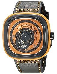 SEVENFRIDAY Men's P1-3 Kuka Robot Orange Analog Display Japanese Automatic Black Watch by SEVENFRIDAY