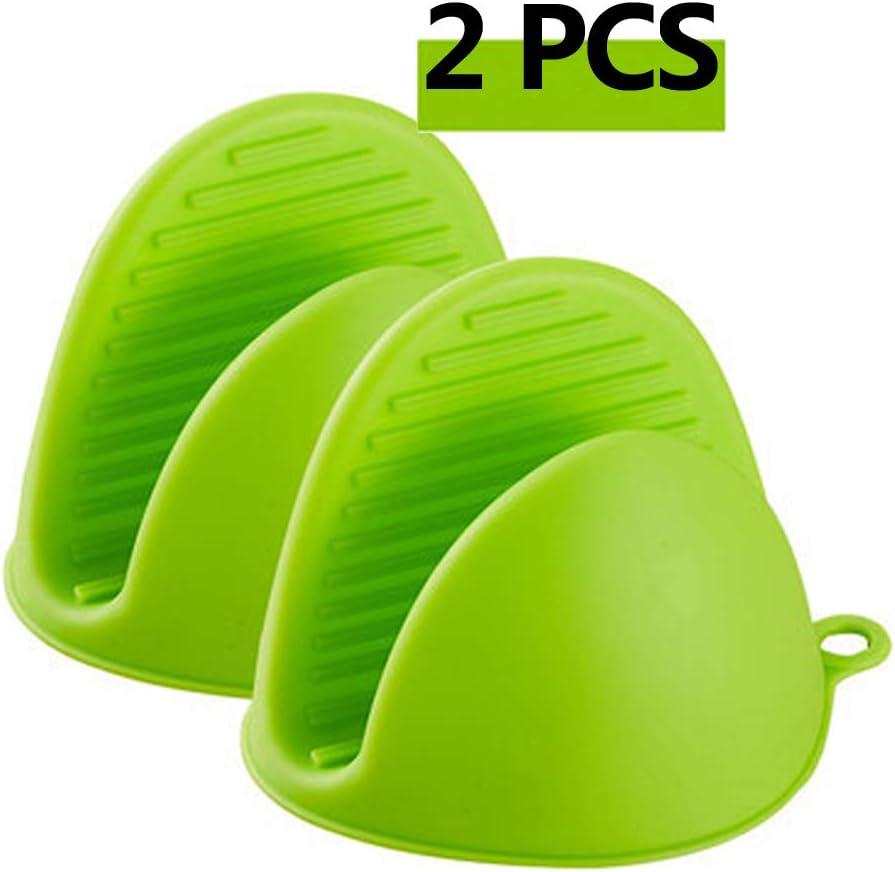 Zhezhe Lot de 2 mini maniques en silicone r/ésistant /à la chaleur Vert