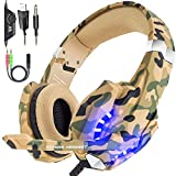 BENGOO Gaming Headset Over Ear Headphone with Mic and LED Light for PC