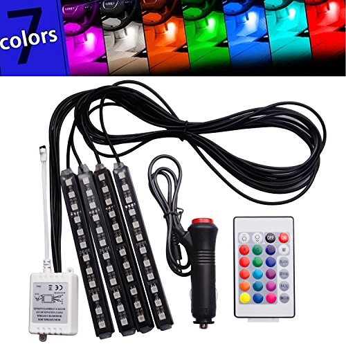 FICBOX 7 Color 48 LED Car Interior Floor Decorative Atmosphere Lights Strip Waterproof Glow Neon Decoration Lamp with Wireless Remote Control and Car Charger (Led Strips For Cars compare prices)