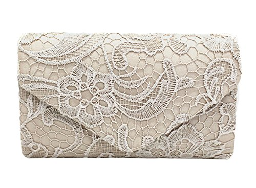 Strap Evening Envelope Clutch Handbag Elegant Prom Bag Bag Women Clutches Purse Ladies with Wedding DNFC Cream Lace Bag Dressy Bag Clutch Shoulder Cocktail 8vwnI