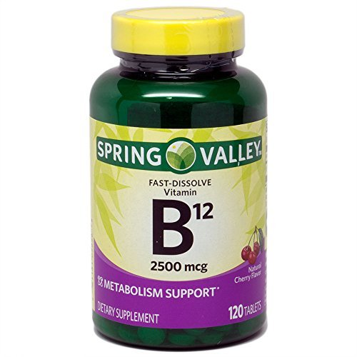 Spring Valley Sublingual B12, Cherry Flavor, 2500 mcg, 120 ct Microlozenges by Spring Valley