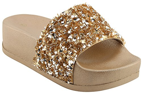 lentejuelas Slip mujer abierta Bead Gold Sandalia Rose Select para punta Purpurina Slide On Cambridge Flatform 8HBwF0qxx