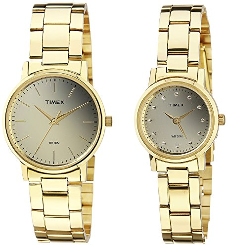 Timex-Mens-Analog-Dial-Pair-Watch-Gold