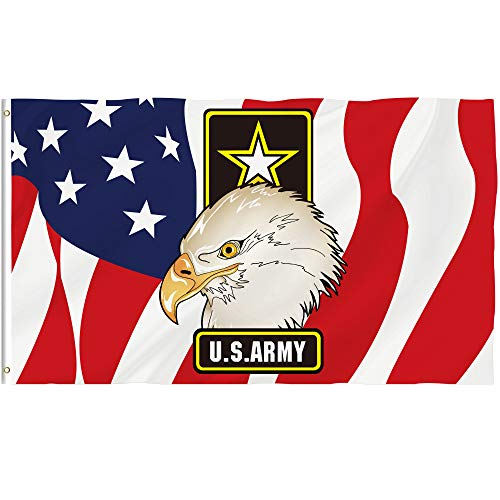 Bonsai Tree 3x5 Feet US Army Badge Flag - Vivid Color and Fade Resistant and Double Sided - Army Eagle Flags Polyester with Brass Grommets American Military Home Decorations