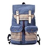 DouGuYan Women Vintage Backpacks Large Capacity Canvas Print Travel Backpacks Retro School Bags Laptop Backpacks Retro Blue 124