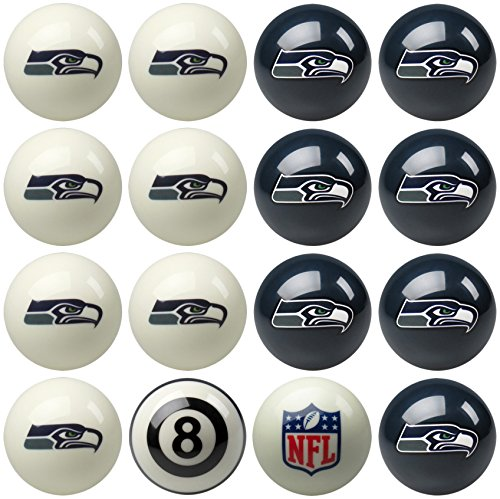 Imperial Officially Licensed NFL Merchandise: Home vs. Away Billiard/Pool Balls, Complete 16 Ball Set, Seattle Seahawks