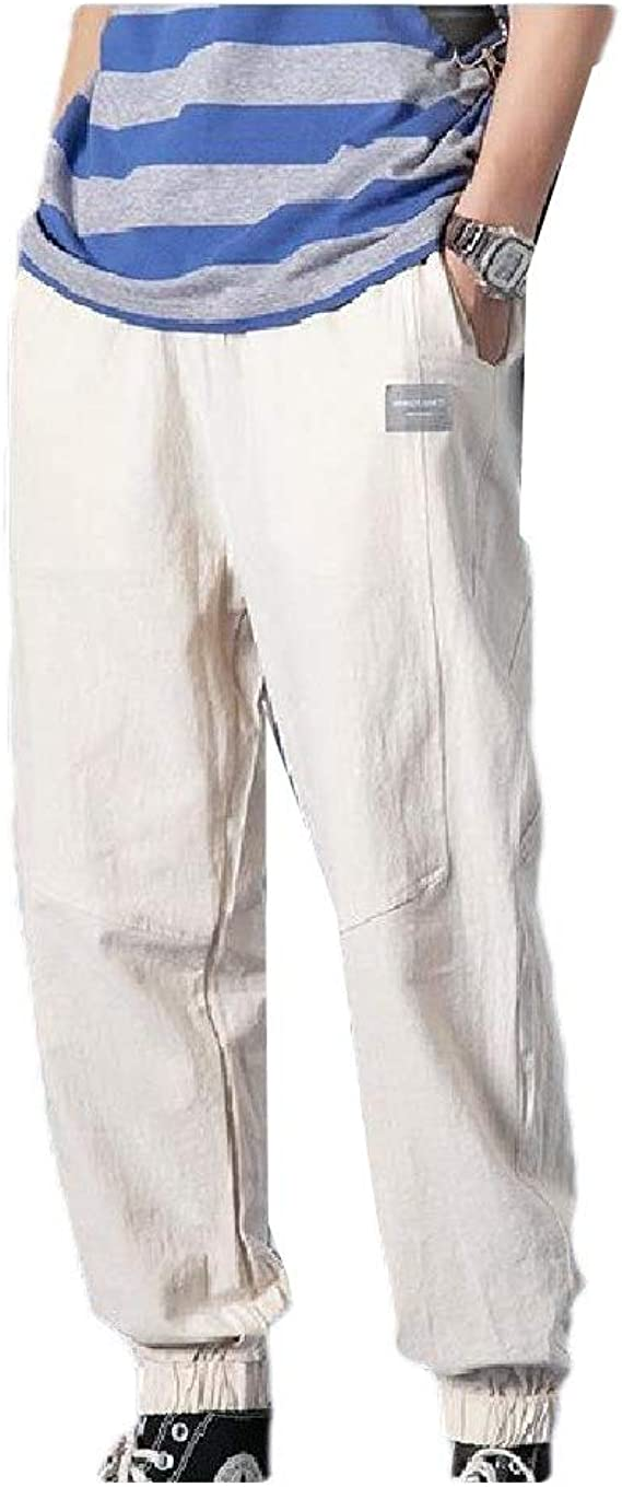 EnergyWD 男性ドローストリングスタイリッシュなソリッドリネンハーレムパンツポケット付きカジュアルパンツ