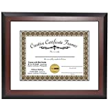 CreativePF [11x14mh-w] Mahogany Document Frame Display 8.5 by 11-inch with Mat or 11 by 14-inch Certificate, Graduation, University, Diploma Frames with Stand & Wall Hanger (Pack of 1)