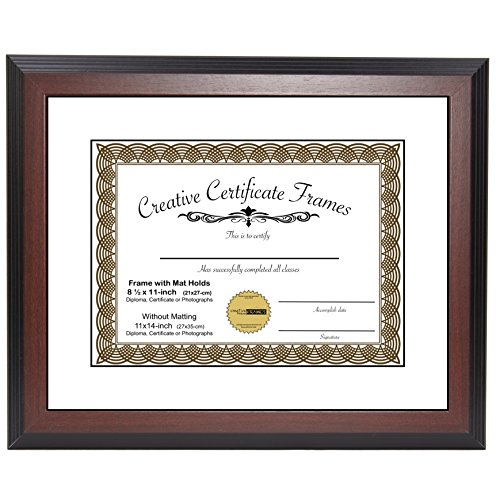 University Double Frame (CreativePF [11x14mh-w] Mahogany Document Frame Display 8.5 by 11-inch with Mat or 11 by 14-inch Certificate, Graduation, University, Diploma Frames with Stand & Wall Hanger (Pack of 1))