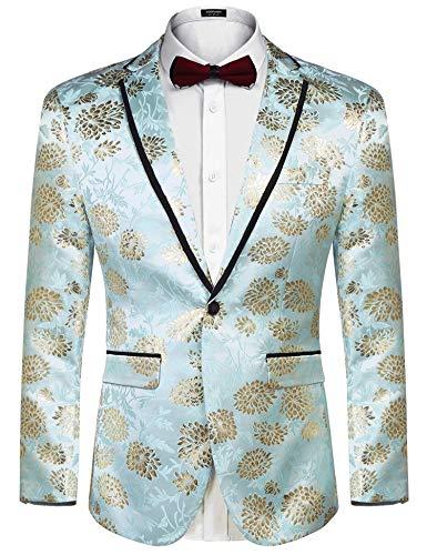 COOFANDY Men's Floral Party Dress Suit Blazer Notched Lapel Jacket One Button Tuxedo,Blue-golden,XX-Large