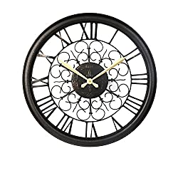 CLG-FLY 23 Inches Large Iron Art Retro Clock Watch Rome Creative European Garden Living Room Wall Clock#28with best service