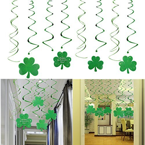 St.Patrick Day Party Decoration Swirls, 30 Pack St Patricks Day Hanging Decorations Lucky Irish Green Shamrock Clover St.Patrick's Day Foil Swirl for St Patrick Party Home Party Favors Supplies ()