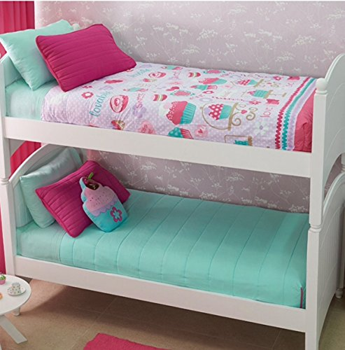 NEW PRETTY COLLECTION CUPCAKE (YUMMY) GIRLS REVERSIBLE BUNKBED COMFORTER SET 2 PCS TWIN SIZE (Twin Comforter Sets For Bunk Beds)