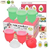 silicon egg microwave - Microwave Egg Cooker-Silicone Egg Maker for Hard& Soft Boiled Eggs,Boil Eggs Without the Egg Shell,100% Pure Silicone Egg Poachers,AS SEEN ON TV,Recipe E-BOOK Included (New Upgraded Egg Cookers)