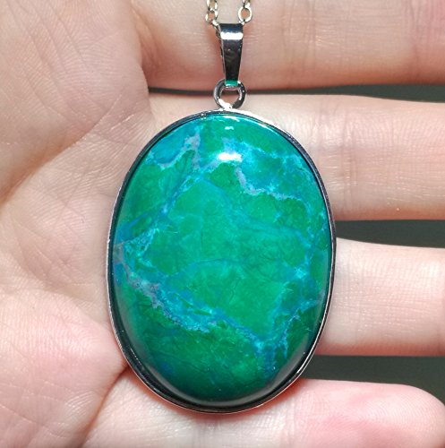 1 Pcs 2'' Hand Carved Natural Gemstone Jewllery Pendant with Sliver Chain,DIY Accessory for Necklace (Turquoise Colored Green) ()