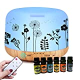 Cheap ledsniper 500ML Essential Oil Diffuser Dandelion Printing Remote Control 6 Essential Oil