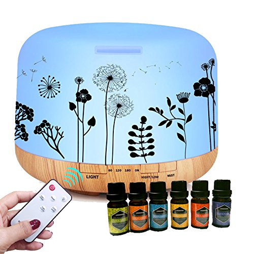 ledsniper 500ML Essential Oil Diffuser Dandelion Printing Remote Control with 6 of Essential - Printing Essential
