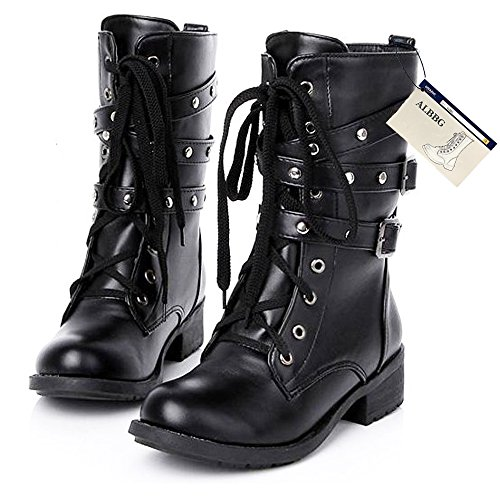 Military Fashion Motorcycle Mid Boots Rivets Buckle Strap Lace-Up Combat Leather Martin Women's Boots (US9/EU40/UK7/CN41/25.5CM, Black-B-B)