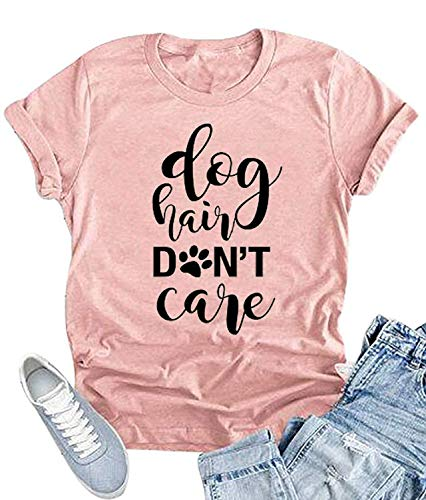 YUYUEYUE Dog Hair Don't Care T-Shirt Women's O-Neck Casual Short Sleeve Tee Funny Tops (Small, Pink) ()