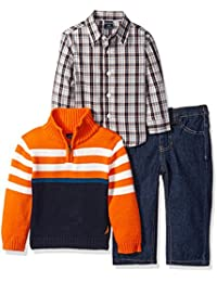 Baby Boys' Three Piece Set with Button Down Shirt, Sweater, and Pants