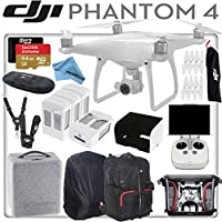 DJI Phantom 4 Quadcopter w/ eDigitalUSA Everything You Need Bundle: Includes 4 Intelligent Flight Batteries, SanDisk 64GB Extreme MicroSD Card, Monitor Hood, DJI Phantom 4 Backpack for and more...