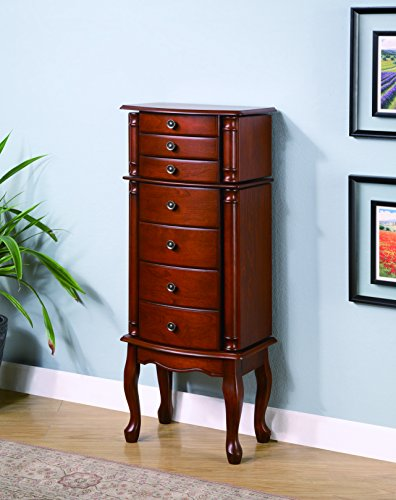 Coaster 900125 Jewelry Armoire with Antiqued Hardware, Brown by Coaster Home Furnishings