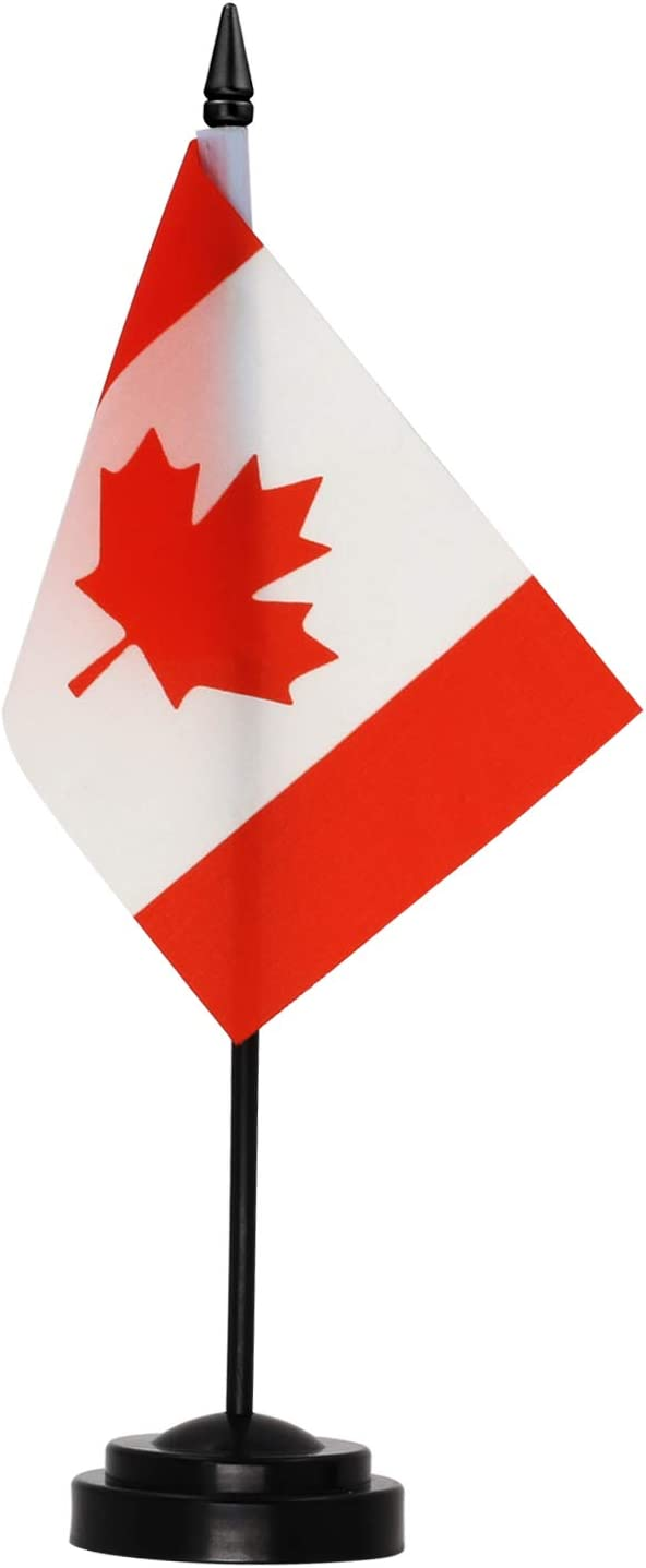 """Anley Canada Deluxe Desk Flag Set - 6 x 4 Inches Miniature Canada Desktop Flag with 12"""" Solid Plastic Pole - Vivid Color and Fade Resistant - Come with Black Base and Golden Top"""