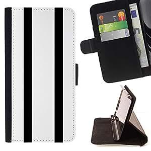 For Samsung Galaxy S5 Mini (Not S5), SM-G800 Case , Rayas Bowling Minimalista Blanca- la tarjeta de Crédito Slots PU Funda de cuero Monedero caso cubierta de piel
