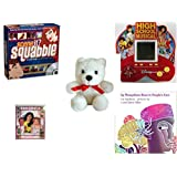 """Children's Gift Bundle - Ages 6-12 [5 Piece] - Scene It? Squabble - High School Musical 5 in 1 Electronic Handheld Game - White Teddy Bear Red Ribbon Plush 5"""" - Outside of Me Hardcover Book - Why Mo"""